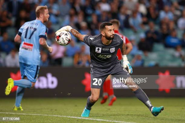 Paul Izzo of Adelaide throws the ball during the FFA Cup Final match between Sydney FC and Adelaide United at Allianz Stadium on November 21 2017 in...