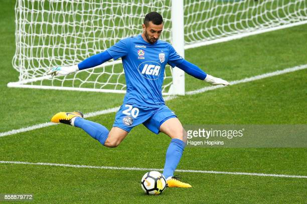 Paul Izzo of Adelaide United in action during the round one ALeague match between Wellington Phoenix and Adelaide United at Westpac Stadium on...