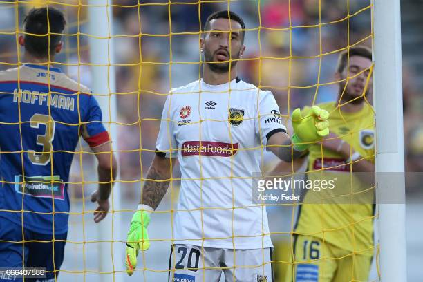 Paul Izzo of the Mariners in goal during the round 26 ALeague match between the Central Coast Mariner and the Newcastle Jets at Central Coast Stadium...
