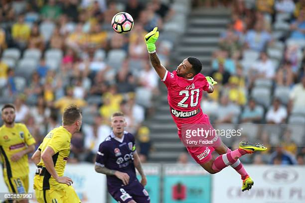 Paul Izzo of the Mariners makes a save during the round 17 ALeague match between the Central Coast Mariners and the Perth Glory at Central Coast...