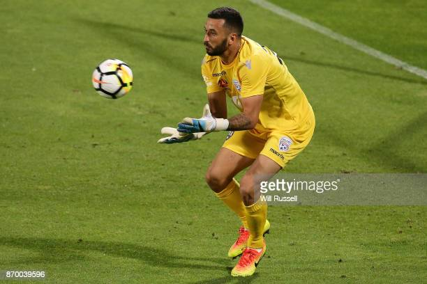 Paul Izzo of the Reds makes a save during the round five ALeague match between the Perth Glory and Adelaide United at nib Stadium on November 4 2017...
