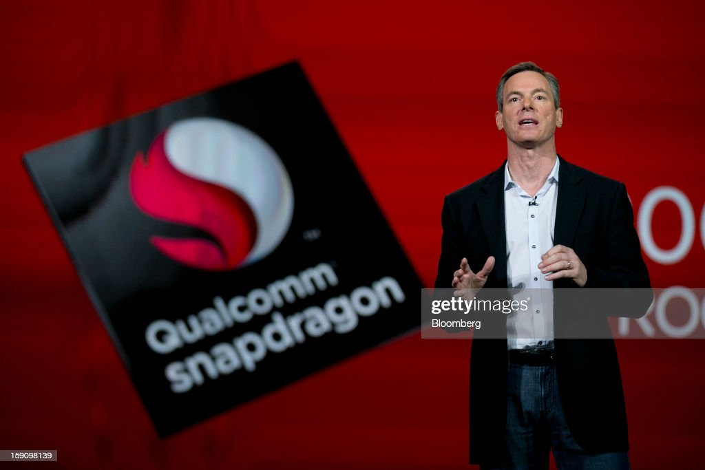 Paul Jacobs, chief executive officer of Qualcomm Inc., gives a keynote speech during the 2013 Consumer Electronics Show in Las Vegas, Nevada, U.S., on Monday, Jan. 7, 2013. The 2013 CES trade show, which runs until Jan. 11, is the world's largest annual innovation event that offers an array of entrepreneur focused exhibits, events and conference sessions for technology entrepreneurs. Photographer: Andrew Harrer/Bloomberg via Getty Images
