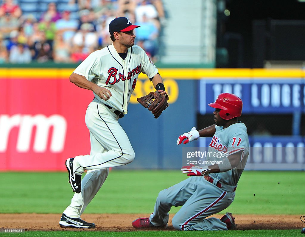 <a gi-track='captionPersonalityLinkClicked' href=/galleries/search?phrase=Paul+Janish&family=editorial&specificpeople=4174475 ng-click='$event.stopPropagation()'>Paul Janish</a> #4 of the Atlanta Braves turns a double play against <a gi-track='captionPersonalityLinkClicked' href=/galleries/search?phrase=Jimmy+Rollins&family=editorial&specificpeople=204478 ng-click='$event.stopPropagation()'>Jimmy Rollins</a> #11 of the Philadelphia Phillies at Turner Field on September 2 2012 in Atlanta, Georgia.