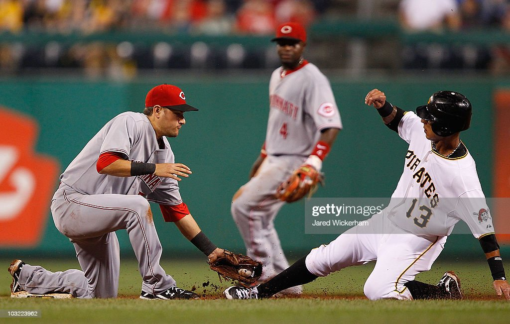 Paul Janish of the Cincinnati Reds tags out Ronny Cedeno of the Pittsburgh Pirates during the game on August 3 2010 at PNC Park in Pittsburgh...