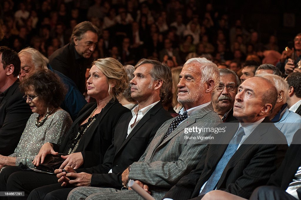 Paul, Jean Paul Belmondo and Gerrard Collomb attend the 5th Lyon Film Festival on October 14, 2013 in Lyon, France.