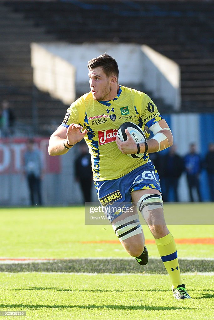 Paul Jedrasiak of Clermont during the French Top 14 rugby union match between Racing 92 v Clermont at Stade Yves Du Manoir on May 1, 2016 in Colombes, France.