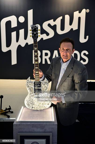 Paul Jernigan of Gibson Brands presents the 'Eden of CORONET' guitar the highlight of this year's Gibson at Musikmesse Frankfurt event on April 14...