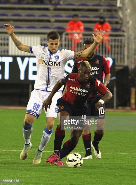 Paul Josè Mpoku of Cagliari in action during the Serie A match between Cagliari Calcio and Empoli FC at Stadio Sant'Elia on March 14 2015 in Cagliari...