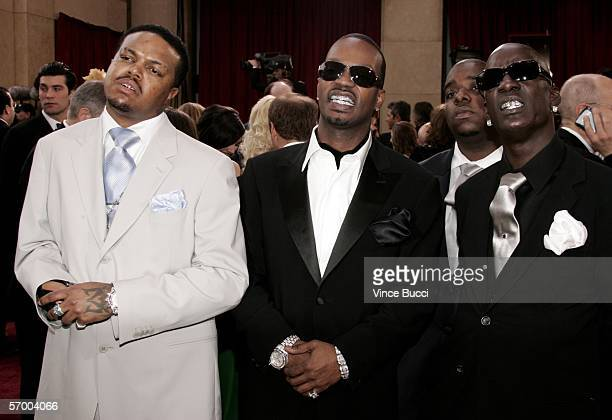 Paul Juicy J Project Pat and Crunchy Black from Three 6 Mafia arrive at the 78th Annual Academy Awards at the Kodak Theatre on March 5 2006 in...