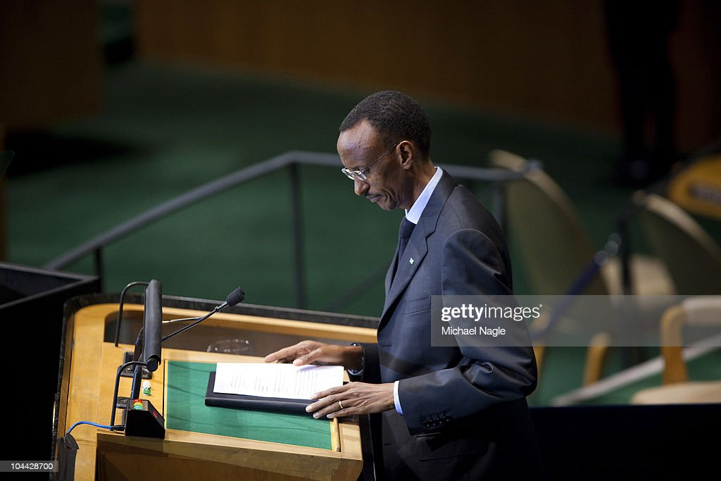 Paul Kagame, President of the Republic of Rwanda, addresses the 65th session of the General Assembly at the United Nations on September 24, 2010 in New York City. Leaders and diplomats from around the world are in New York City for the United Nations yearly General Assembly.