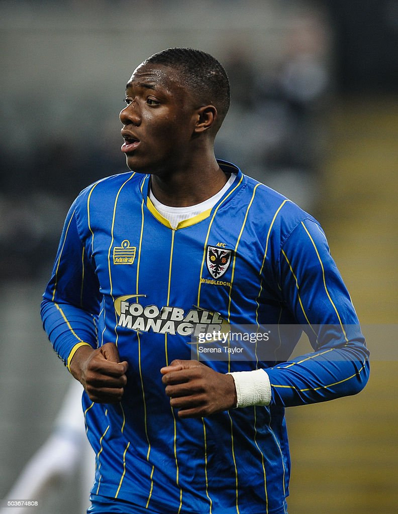 Paul Kalambayi of Wimbledon during the U18 FA Youth Cup Match between Newcastle United and AFC Wimbledon at St.James' Park on January 6, 2015, in Ilkeston, England.