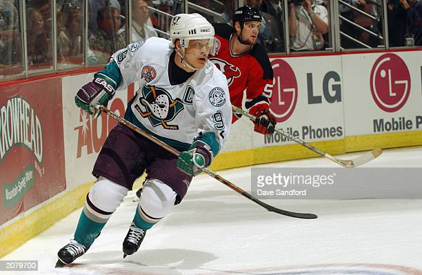 Paul Kariya of the Mighty Ducks of Anaheim skates against the New Jersey Devils in game four of the 2003 Stanley Cup Finals at the Arrowhead Pond of...