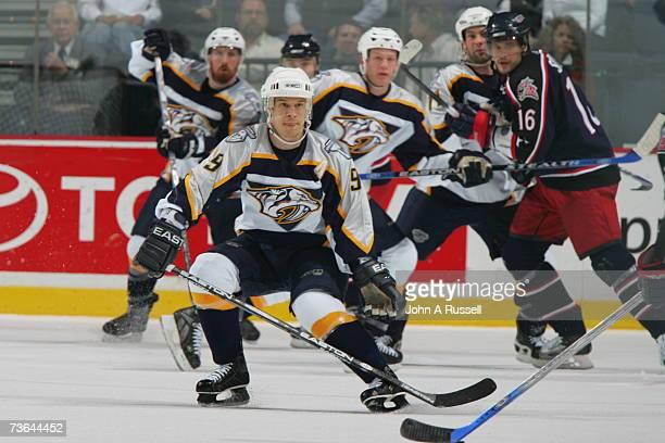 Paul Kariya of the Nashville Predators skates against the Columbus Blue Jackets at Nashville Arena on March 10 2007 in Nashville Tennessee