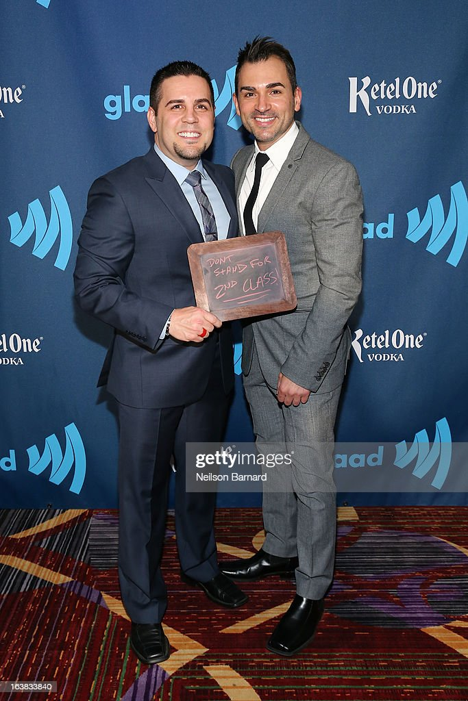Paul Katami and Jeff Zarrillo attend the Ketel One VIP Red Carpet Suite at the 24th Annual GLAAD Media Awards at the Marriott Marquis on March 16, 2013 in New York.