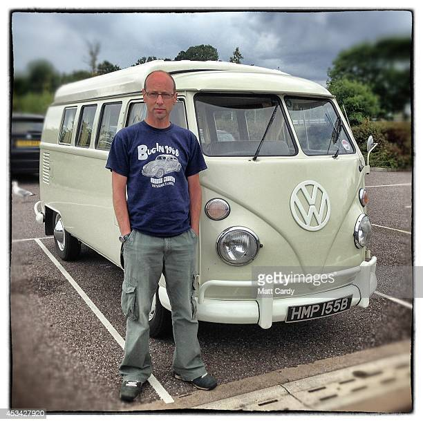 Paul Knight from Chepstow poses for a photograph besides his 1964 first generation or T1 splitscreen Volkswagen Transporter van on August 4 2014 in...