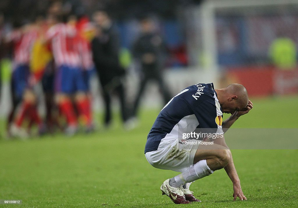Paul Konchesky of Fulham looks dejected after their defeat in the UEFA Europa League final match between Atletico Madrid and Fulham at HSH Nordbank Arena on May 11, 2010 in Hamburg, Germany.