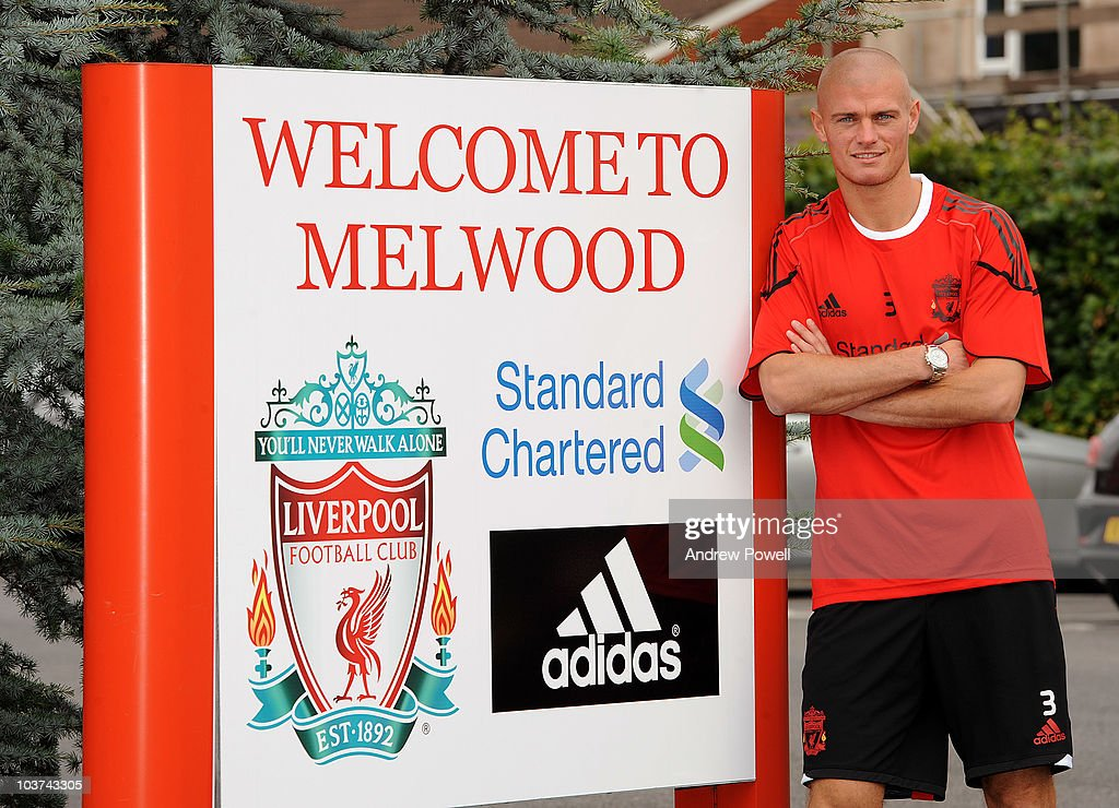 Paul Konchesky signing for Liverpool Football Club at Melwood Training Ground on August 31, 2010 in Liverpool, England.