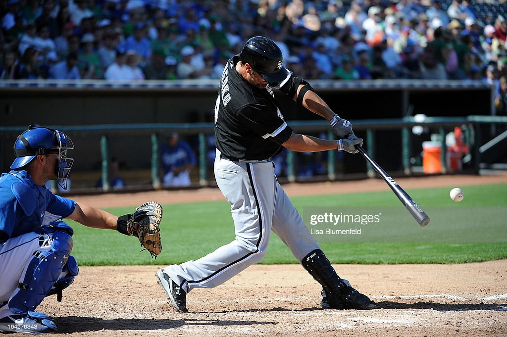 Paul Konerko #14 of the Chicago White Sox bats against the Kansas City Royals at Surprise Stadium on March 17, 2013 in Surprise, Arizona.