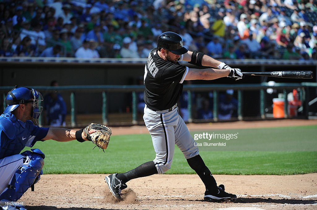 <a gi-track='captionPersonalityLinkClicked' href=/galleries/search?phrase=Paul+Konerko&family=editorial&specificpeople=203327 ng-click='$event.stopPropagation()'>Paul Konerko</a> #14 of the Chicago White Sox bats against the Kansas City Royals at Surprise Stadium on March 17, 2013 in Surprise, Arizona.