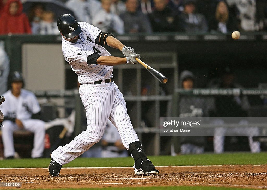 <a gi-track='captionPersonalityLinkClicked' href=/galleries/search?phrase=Paul+Konerko&family=editorial&specificpeople=203327 ng-click='$event.stopPropagation()'>Paul Konerko</a> #14 of the Chicago White Sox bats against the Los Angeles Angels of Anaheim at U.S. Cellular Field on July 2, 2014 in Chicago, Illinois. The White Sox defeated the Angels 3-2.
