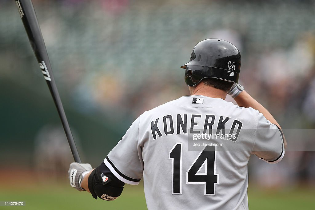 <a gi-track='captionPersonalityLinkClicked' href=/galleries/search?phrase=Paul+Konerko&family=editorial&specificpeople=203327 ng-click='$event.stopPropagation()'>Paul Konerko</a> #14 of the Chicago White Sox bats against the Oakland Athletics during a Major League Baseball game at the Oakland-Alameda County Coliseum on May 14, 2011 in Oakland, California.