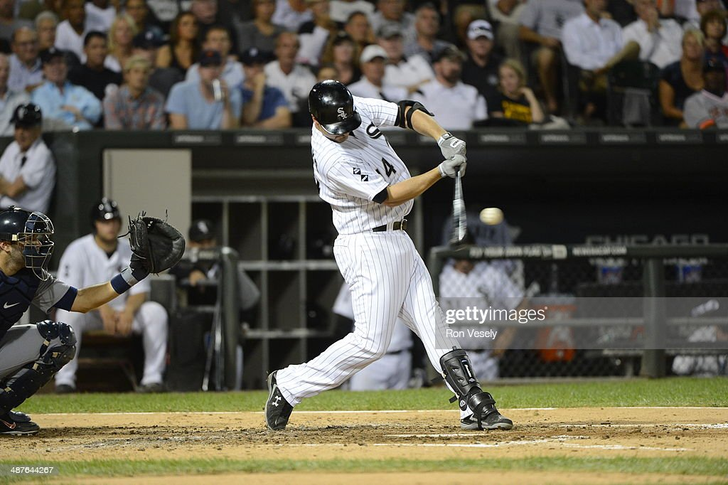 Paul Konerko #14 of the Chicago White Sox bats during an MLB game at U.S. Cellular Field in Chicago, Illinois on September 12, 2012.