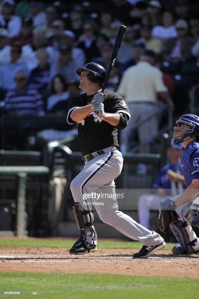 Paul Konerko of the Chicago White Sox bats during the game against the Texas Rangers on March 7 2009 at Surprise Stadium in Surprise Arizona