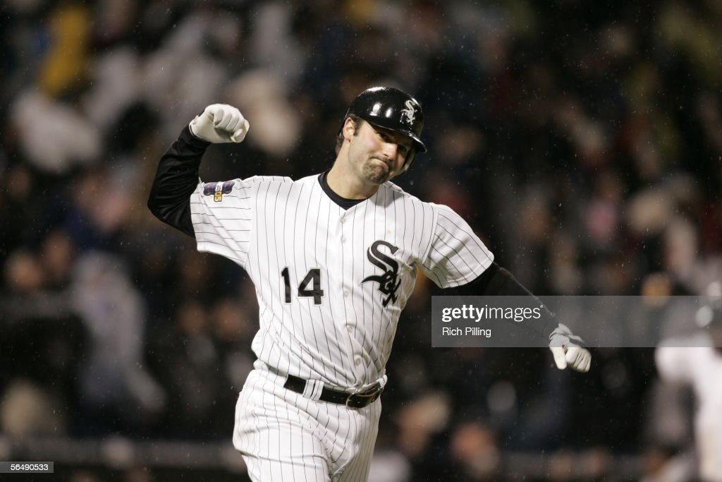 Paul Konerko of the Chicago White Sox celebrates his grandslam during the seventh inning of Game Two of the Major League Baseball World Series against the Houston Astros at U.S. Cellular Field on October 23, 2005 in Chicago, Illinois.