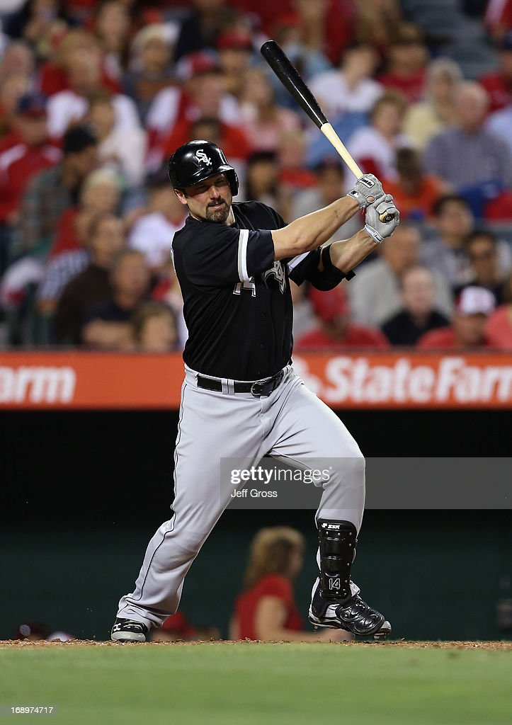 <a gi-track='captionPersonalityLinkClicked' href=/galleries/search?phrase=Paul+Konerko&family=editorial&specificpeople=203327 ng-click='$event.stopPropagation()'>Paul Konerko</a> #14 of the Chicago White Sox hits a base hit against the Los Angeles Angels of Anaheim in the fourth inning at Angel Stadium of Anaheim on May 17, 2013 in Anaheim, California.