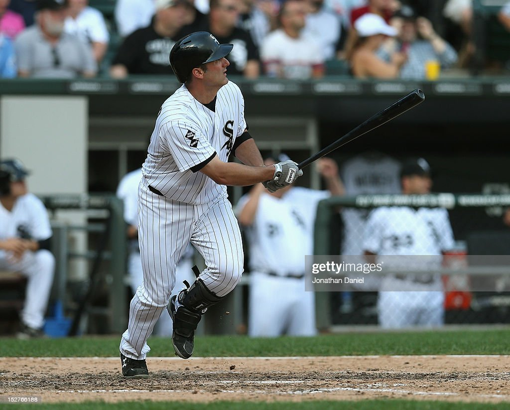 <a gi-track='captionPersonalityLinkClicked' href=/galleries/search?phrase=Paul+Konerko&family=editorial&specificpeople=203327 ng-click='$event.stopPropagation()'>Paul Konerko</a> #14 of the Chicago White Sox hits a solo home run in the bottom of the 9th inning against the Cleveland Indians at U.S. Cellular Field on September 25, 2012 in Chicago, Illinois. The Indians defeated the White Sox 4-3.
