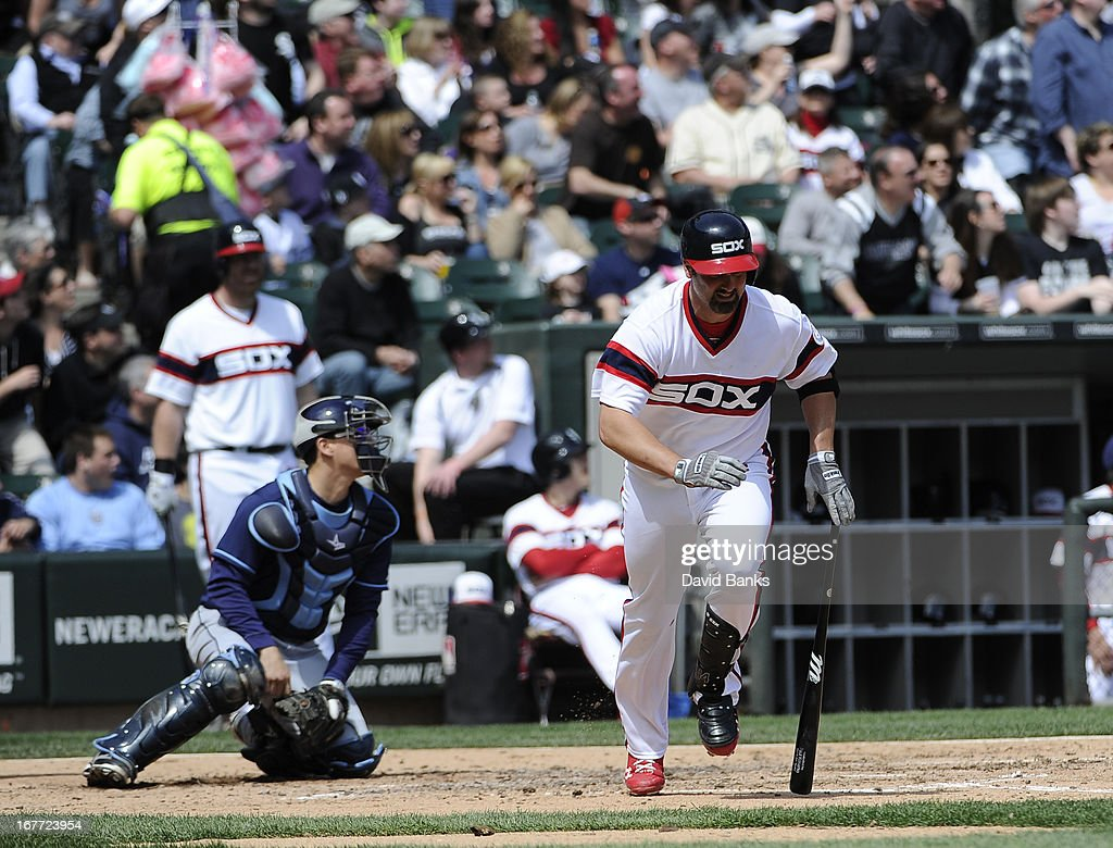<a gi-track='captionPersonalityLinkClicked' href=/galleries/search?phrase=Paul+Konerko&family=editorial&specificpeople=203327 ng-click='$event.stopPropagation()'>Paul Konerko</a> #14 of the Chicago White Sox hits a two-run homer during the third inning against the Tampa Bay Rays on April 28, 2013 at U.S. Cellular Field in Chicago, Illinois.