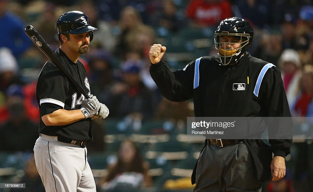 <a gi-track='captionPersonalityLinkClicked' href=/galleries/search?phrase=Paul+Konerko&family=editorial&specificpeople=203327 ng-click='$event.stopPropagation()'>Paul Konerko</a> #14 of the Chicago White Sox reacts after a strike out against the Texas Rangers at Rangers Ballpark in Arlington on May 2, 2013 in Arlington, Texas.