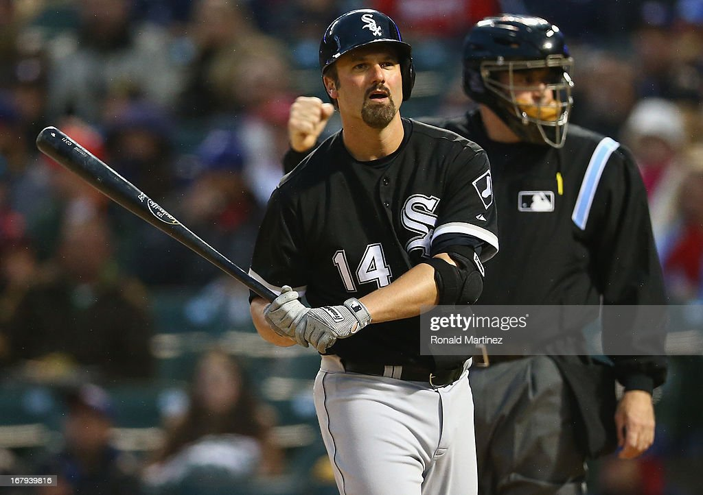 Paul Konerko #14 of the Chicago White Sox reacts after a strike out against the Texas Rangers at Rangers Ballpark in Arlington on May 2, 2013 in Arlington, Texas.