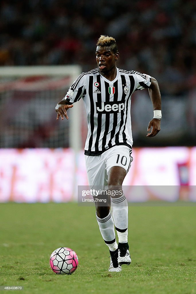 Paul Labile Pogba of Juventus FC in action during the Italian Super Cup final football match between Juventus and Lazio at Shanghai Stadium on August 8, 2015 in Shanghai, China.