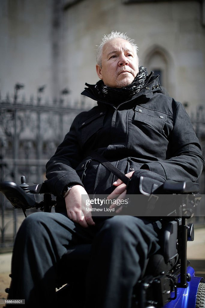Paul Lamb, 58, arrives at the Royal Courts of Justice for the first day in a three day hearing on legalising the right to die with the aid of a doctor on May 13, 2013 in London, England. Mr Lamb, who is paralysed from the neck down, is continuing the legal battle started by the late Tony Nicklinson, who suffered from locked in syndrome.