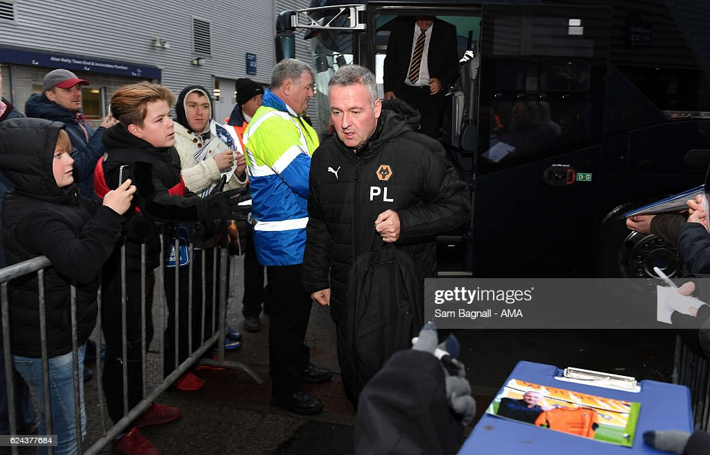 Paul Lambert manager / head coach of Wolverhampton Wanderers arrives before kick offduring the Sky Bet Championship match between Preston North End and Wolverhampton Wanderers at Deepdale on November 19, 2016 in Preston, England.