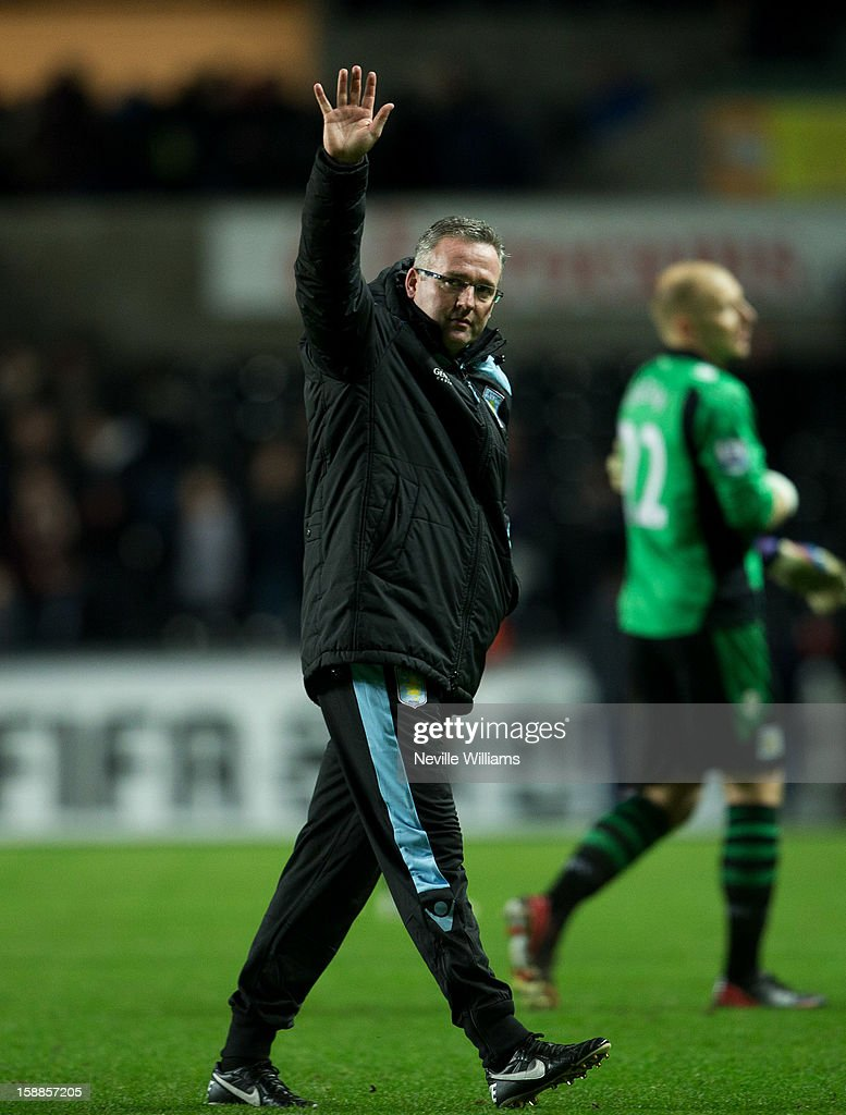Paul Lambert, manager of Aston Villa, acknowledges the crowd during the Barclays Premier League match between Swansea City and Aston Villa at Liberty Stadium on January 01, 2013 in Swansea, Wales.