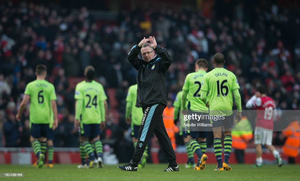 Paul Lambert manager of Aston Villa after the Barclays Premier League match between Arsenal and Aston Villa at Emirates Stadium on February 23, 2013 in London, England.