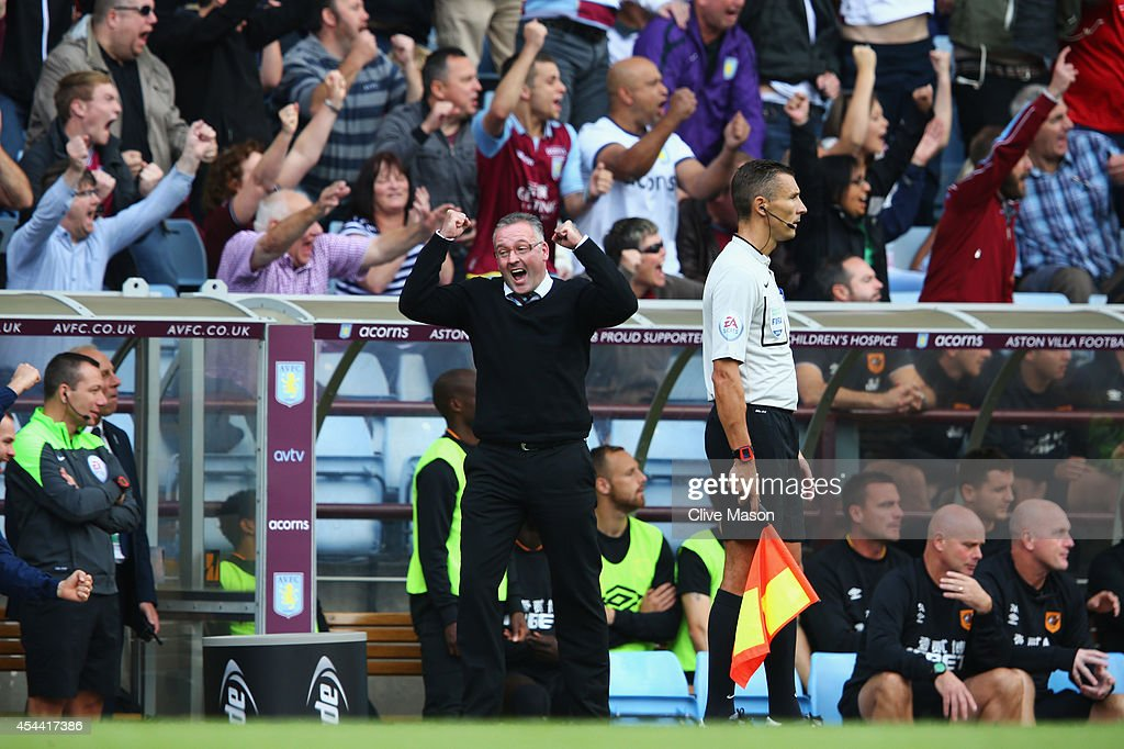 Paul Lambert, manager of Aston Villa celebrates the goal scored by Andreas Weimann during the Barclays Premier League match between Aston Villa and Hull City at Villa Park on August 31, 2014 in Birmingham, England.