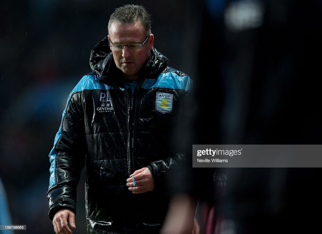 Paul Lambert, manager of Aston Villa during the Barclays Premier League match between Aston Villa and Wigan Athletic at Villa Park on December 29, 2012 in Birmingham, England.