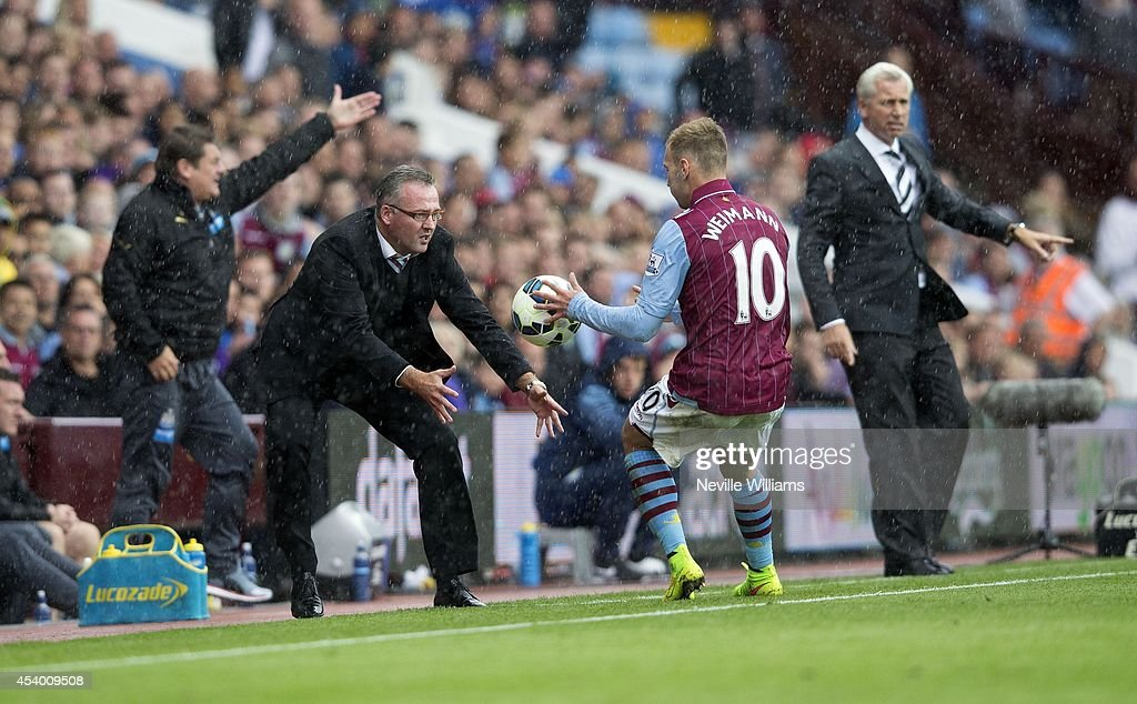 Paul Lambert manager of Aston Villa during the Barclays Premier League match between Aston Villa and Newcastle United at Villa Park on August 23, 2014 in Birmingham, England.