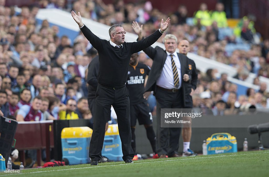 Paul Lambert manager of Aston Villa gestures during the Barclays Premier League match between Aston Villa and Hull City at Villa Park on August 31, 2014 in Birmingham, England.