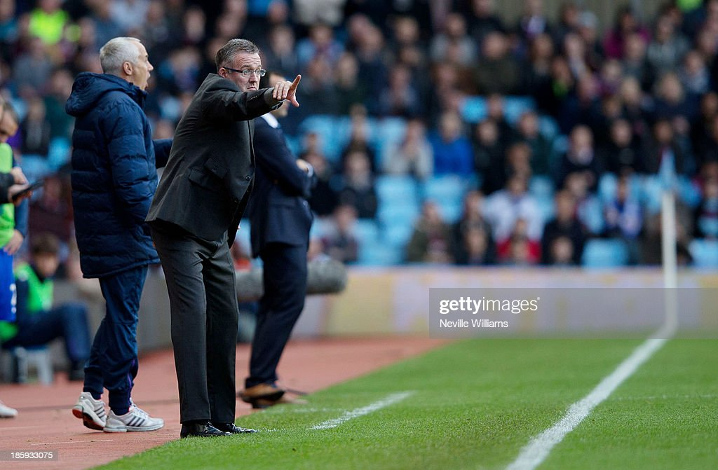 Paul Lambert manager of Aston Villa gestures from the touch-line during the Barclays Premier League match between Aston Villa and Everton at Villa Park on October 26, 2013 in Birmingham, England.