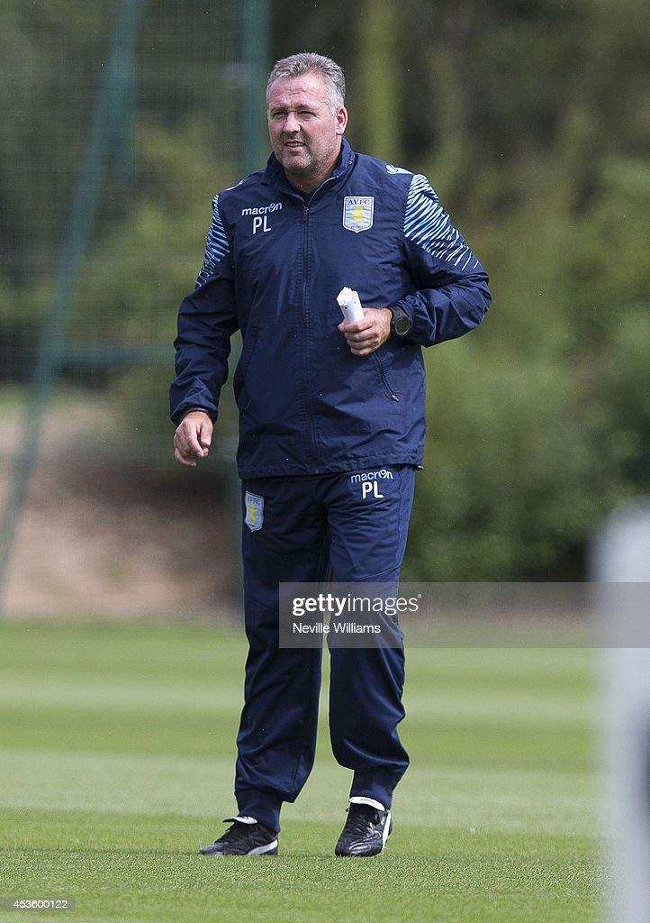 Paul Lambert manager of Aston Villa in action during a Aston Villa training session at the club's training ground at Bodymoor Heath on August 14, 2014 in Birmingham, England.