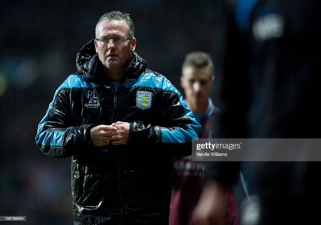 Paul Lambert manager of Aston Villa looks on during the Barclays Premier League match between Aston Villa and Wigan Athletic at Villa Park on December 29, 2012 in Birmingham, England.