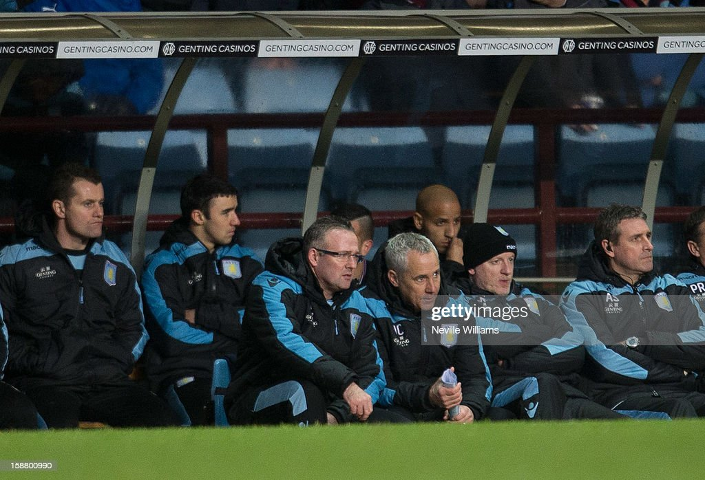 Paul Lambert (3rd L), manager of Aston Villa looks on during the Barclays Premier League match between Aston Villa and Wigan Athletic at Villa Park on December 29, 2012 in Birmingham, England.