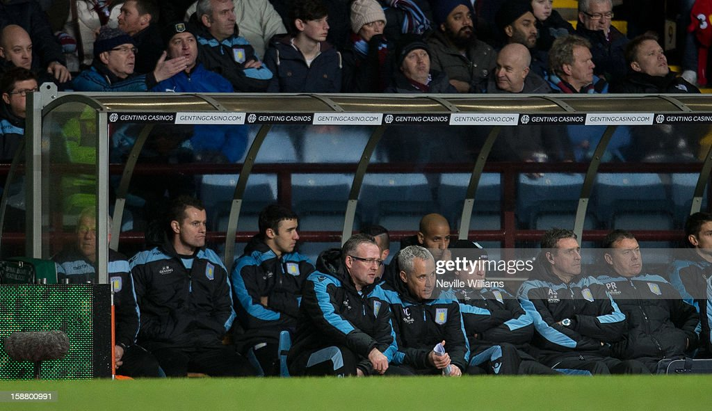 Paul Lambert (C), manager of Aston Villa looks on during the Barclays Premier League match between Aston Villa and Wigan Athletic at Villa Park on December 29, 2012 in Birmingham, England.