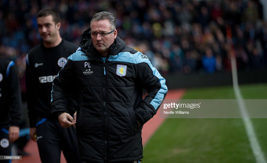 Paul Lambert, manager of Aston Villa looks on during the Barclays Premier League match between Aston Villa and Wigan Athletic at Villa Park on December 29, 2012 in Birmingham, England.