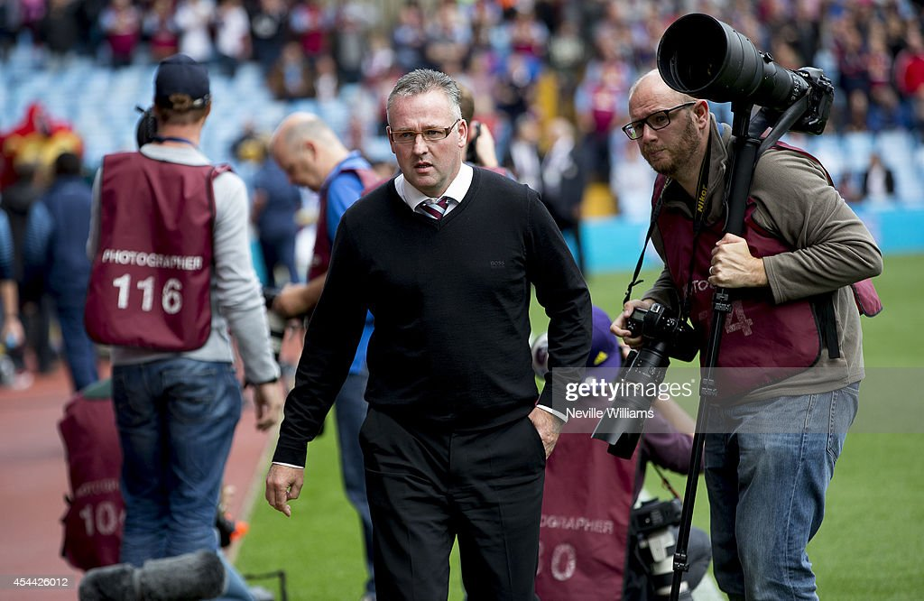 Paul Lambert manager of Aston Villa looks on during the Barclays Premier League match between Aston Villa and Hull City at Villa Park on August 31, 2014 in Birmingham, England.
