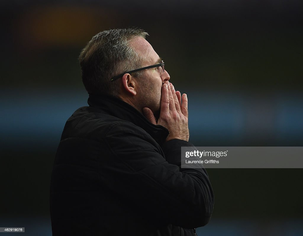 <a gi-track='captionPersonalityLinkClicked' href=/galleries/search?phrase=Paul+Lambert+-+Soccer+Manager&family=editorial&specificpeople=8052775 ng-click='$event.stopPropagation()'>Paul Lambert</a>, manager of Aston Villa reacts during the Barclays Premier League match between Aston Villa and Chelsea at Villa Park on February 7, 2015 in Birmingham, England.